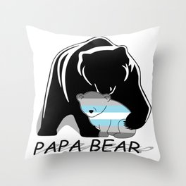 Papa Bear Demiboy Throw Pillow