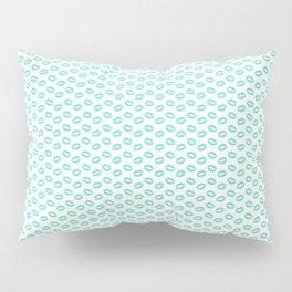 Aqua Blue Lipstick Kisses on White Pillow Sham