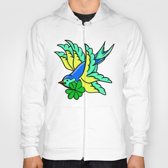 Swallow With Lucky Four Leaf Clover Hoody