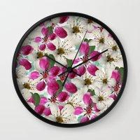 matty healy Wall Clocks featuring Spring Blossoms Abstract  by Judy Palkimas