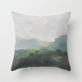Dark Green Seafoam Teal Valley Horizon Gray Cloudy Skies Abstract Nature Ocean Painting Art Print Wall Decor  Throw Pillow