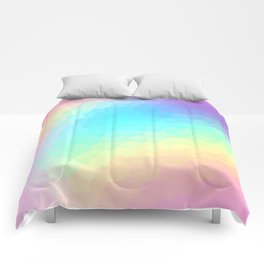 Pastel Rainbow Gradient With Stained Glass Effect Comforters