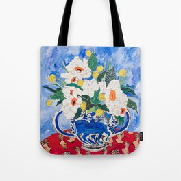 Queen of California - Giant Matilija Poppy Bouquet in Lion Vase on Blue Tote Bag