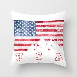 Mountain Climbing USA Flag of America Throw Pillow