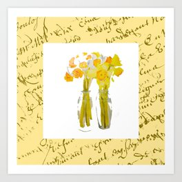 Daffodils and French Script Art Print