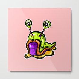 Green Slug, Somewhat Confused!  Metal Print