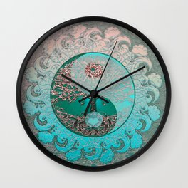 Pretty Chic Teal Tree of Life with Yin Yang and Heart Wall Clock