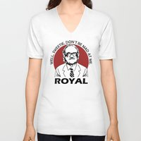 tenenbaum V-neck T-shirts featuring Royal Tenenbaum quotes by Buby87