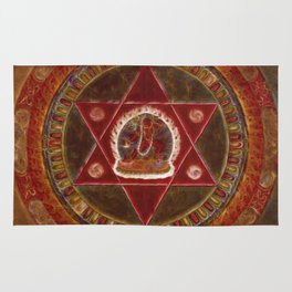 Vajrayogini stands in the center of two crossed red triangles Rug