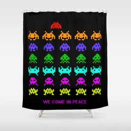 Invaders from Space Come in Peace Shower Curtain