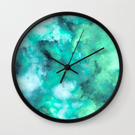 Abstract Art Pour - Green and Aqua Palette Wall Clock