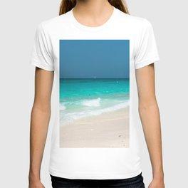 beach summer waves sea coast blue lagoon lifeboat white sand seashells T-shirt
