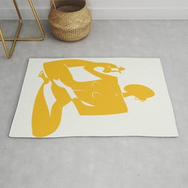 Yoga nude in yellow Rug