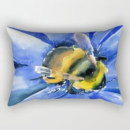 Bee and Blue Flower Rectangular Pillow