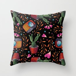 Photography Pattern, Hand Drawn Illustration with Camera, Cactus, Shooter Colorful Design, Black Red Throw Pillow