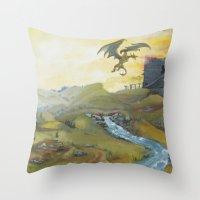 skyrim Throw Pillows featuring Skyrim by mixedlies