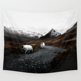 SHEEP - MOUNTAINS - SNOW - ROAD - PHOTOGRAPHY - FUNNY Wall Tapestry