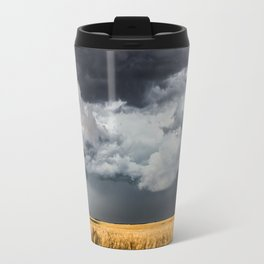 Cotton Candy - Storm Clouds Over Wheat Field in Kansas Travel Mug