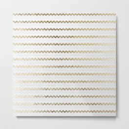 Elegant glam faux gold white geometrical chevron pattern Metal Print