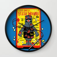 in the flesh Wall Clocks featuring Flesh Wound by Captain_RibMan