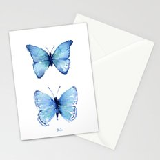 Two Blue Butterflies Watercolor Animals Insects Stationery Cards