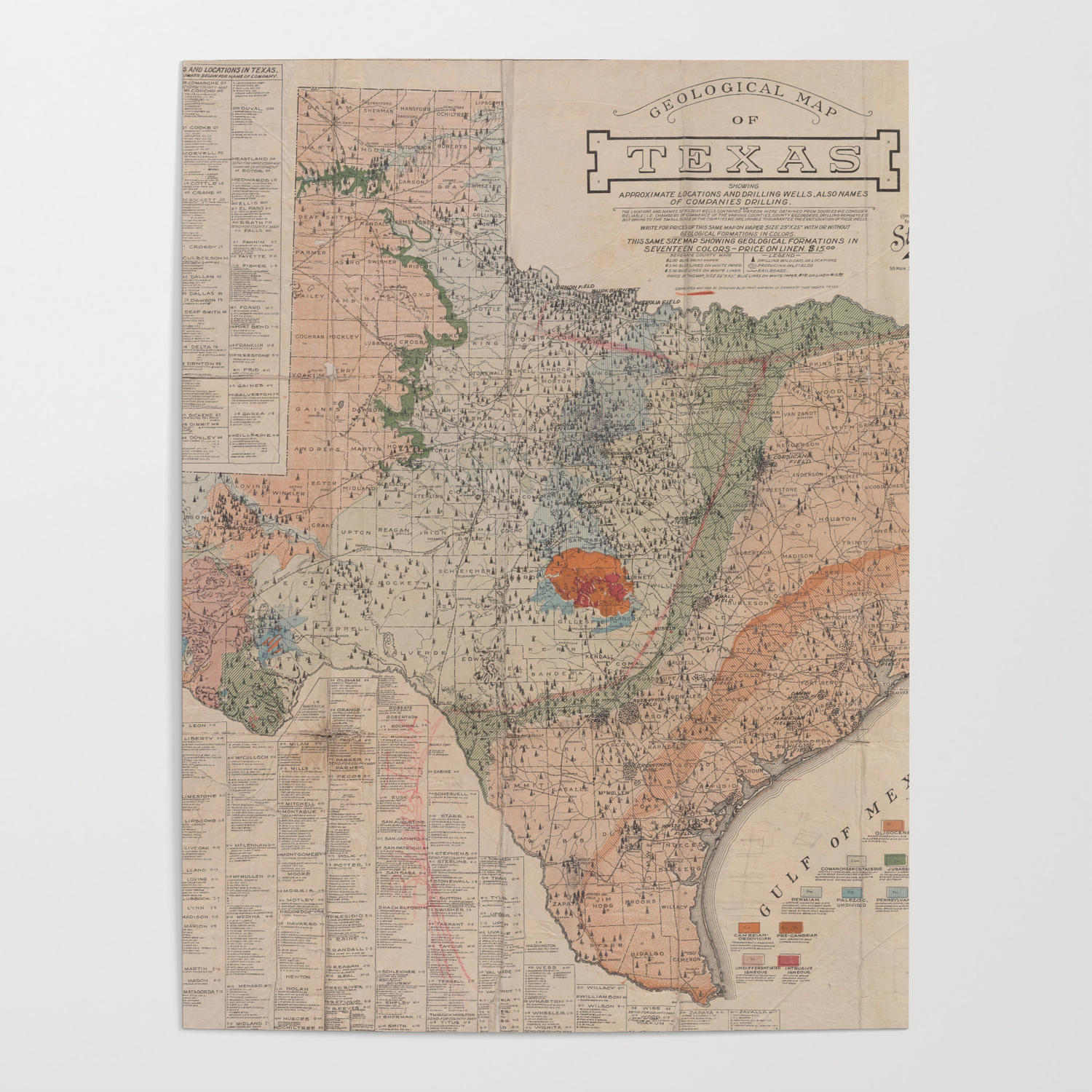 Vintage Geological Map of Texas (1920) Poster by bravuramedia