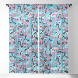 Geo Cats Maze in Pink and Blue Sheer Curtain