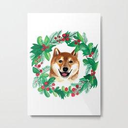 Shiba Inu Christmas Holiday Watercolor Card Metal Print