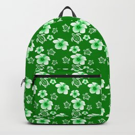 Green Hibiscus Honu Hawaiian Pattern Backpack