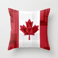canada Throw Pillows featuring O Canada by Fimbis