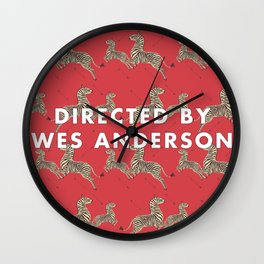 Directed By Wes Anderson - Zebra Wallpaper Wall Clock
