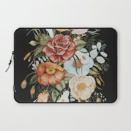 Roses and Poppies Bouquet on Charcoal Black Laptop Sleeve