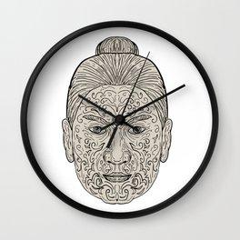Maori Face with Moko facial Tattoo Wall Clock
