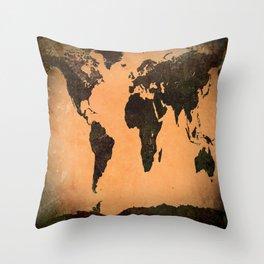 World Map Grunge Throw Pillow