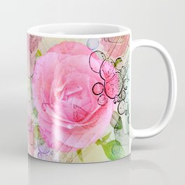 Pink roses on a painterly background Coffee Mug