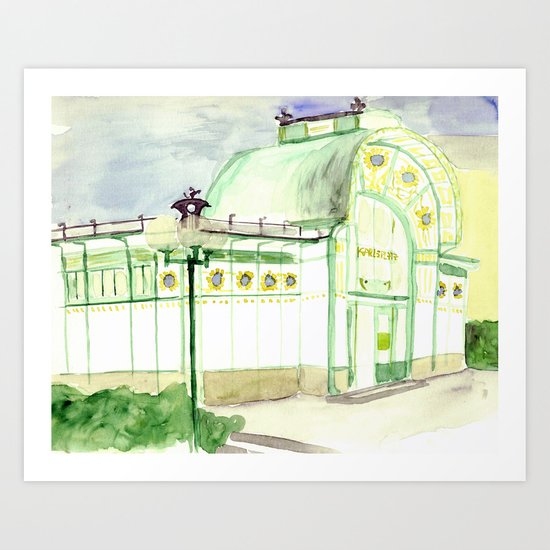 Karlzplatz, Vienna, Austria - Watercolor Painting Art Print