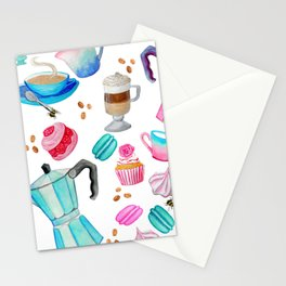 Coffee Pot and cake, retro cafe Stationery Cards