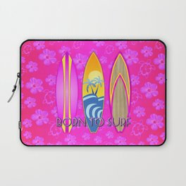 Pink Born To Surf Pink Flowers Laptop Sleeve