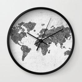Mandalas on Rustic White Concrete World Map Art Wall Clock