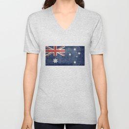 The National flag of Australia, Vintage version Unisex V-Neck