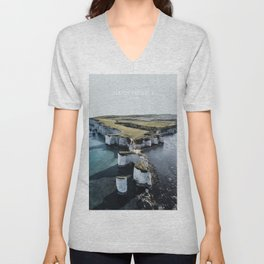Isle of Purbeck, England Travel Artwork Unisex V-Neck