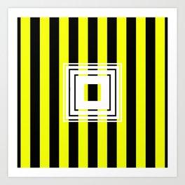 Bumblebee Box - Geometric, bold, yellow and black striped design Art Print