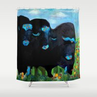 valentines Shower Curtains featuring My Funny Valentines by Rookery Design