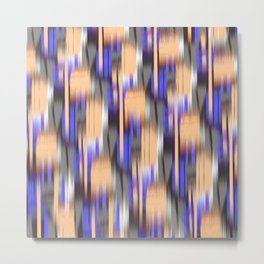 abstract ikat in mild orange and periwinkle blue Metal Print