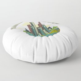 Plastic 90S Climate Protection Environment Statement Earth Nature Floor Pillow
