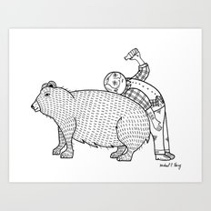 The Known Practice of using Domesticated Bears as cushions while drinking.  Art Print