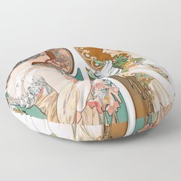 Alphonse Mucha Primrose and Feather Floor Pillow