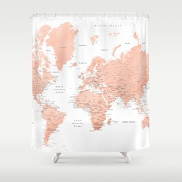 "Rose gold world map with cities, ""Hadi"" Shower Curtain"