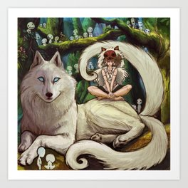Wolf Princess in the Forest Art Print