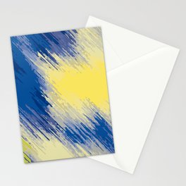 blue and yellow painting abstract background Stationery Cards